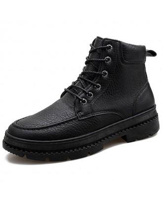 Men Boots Fashion High-top Lace-up Comfortable - Black Eu 44