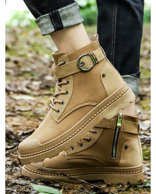 Buckled Lace Up Outdoor Ankle Boots - Light Khaki Eu 40