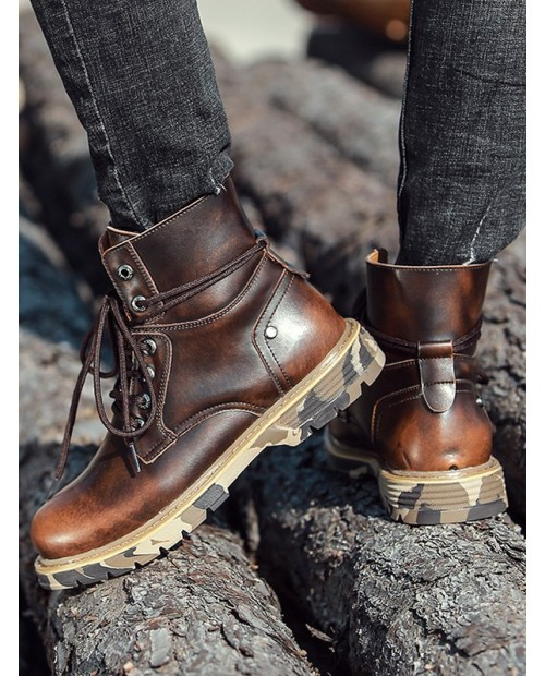 Camouflage Sole Vintage Ankle Boots - Brown Eu 44