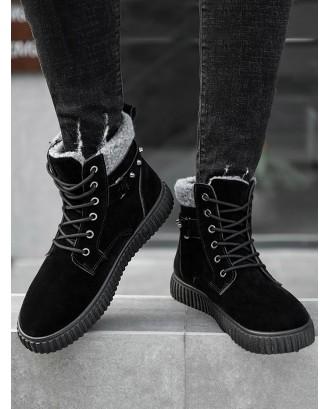 Faux Fur Trim Stud Strap Snow Ankle Boots - Black Eu 44