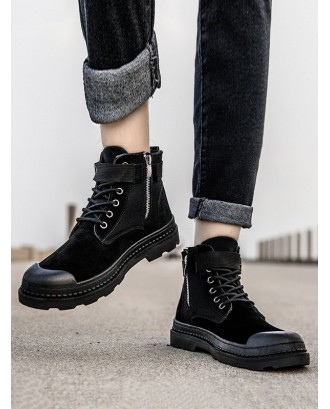 Buckle Strap Cargo Ankle Boots - Black Eu 41