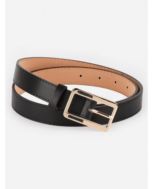 Alloy Geometric Buckle Faux Leather Belt - Black