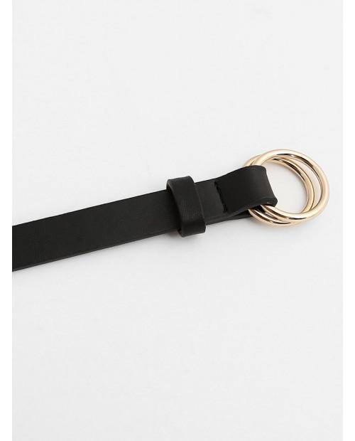 Adjustable Buckle Faux Leather Skinny Belt - Black