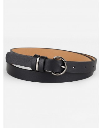 Simple Artificial Leather Skinny Pant Belt - Black