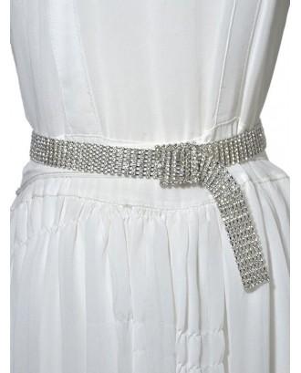 Rhinestone Square Buckle Waist Chain - Silver
