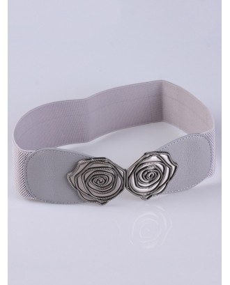 Personality Roses Elastic Wide Belt - Light Gray