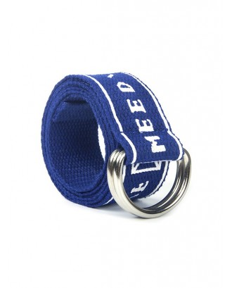 Letter Printed Knitted Waist Belt - Blue