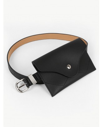 Pin Buckle Fanny Pack Waist Belt Bag - Black