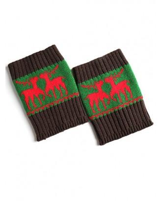 Christmas Deer Jacquard Boot Cuffs - Green