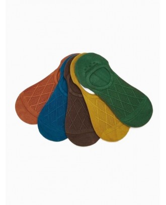 5Pairs Rhombus Pattern Slip-on Socks Set - Multi-a