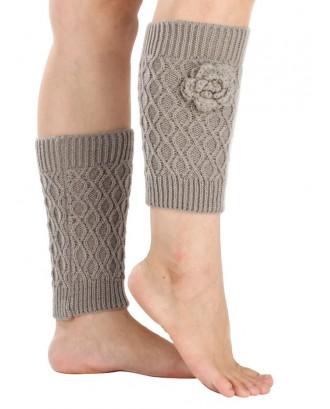 Warm Flower Embellished Rhombus Mesh Crochet Knit Boot Cuffs - Light Gray