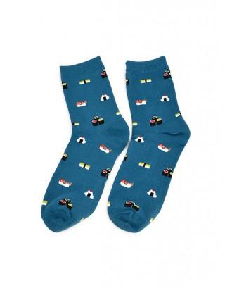 Fruit Food Printed Quarter Length Socks - Blue