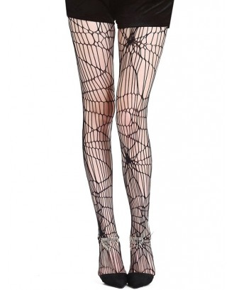 Spider Web Design Mesh Thigh High Socks - Black