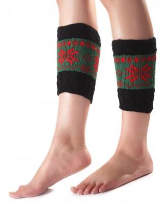 Christmas Geometric Pattern Sleeve Socks - Green
