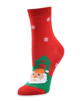 Christmas Santa Snowman Elk Cotton Socks - Red