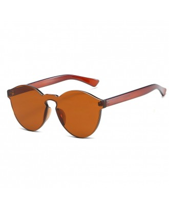 Cat Eye Frameless Sunglasses Retro Glasses Retro Vintage Sunglasses - Brown