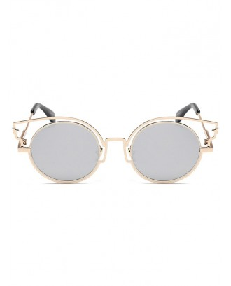 Catty Eye Round Lens Sunglasses - Silver