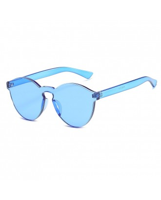 Cat Eye Frameless Sunglasses Retro Glasses Retro Vintage Sunglasses - Blue
