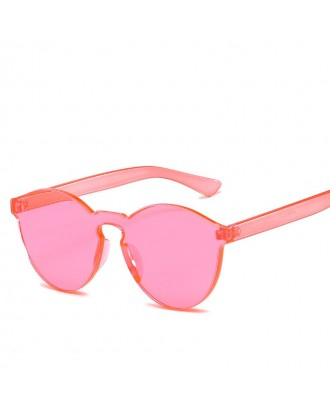 Cat Eye Frameless Sunglasses Retro Glasses Retro Vintage Sunglasses - Pink