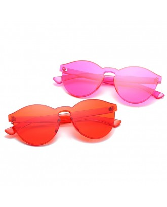 Cat Eye Frameless Sunglasses Retro Glasses Retro Vintage Sunglasses - Hot Pink
