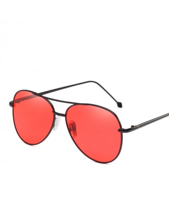 Oval Metal Sunglasses Women Fashion Glasses Brand Designer Retro Vintage Sunglasses - Red