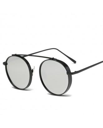 Round Metal Sunglasses Steampunk Men Women Fashion Glasses Brand Designer Retro Vintage Sunglasses UV400 - Black