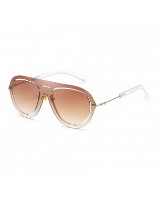 Oval Frameless Sunglasses Retro Glasses Retro Vintage Sunglasses - Mocha