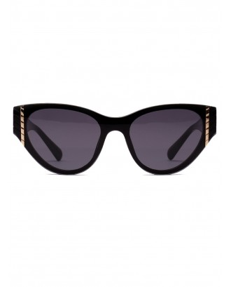 Geometric Rivet Vintage Catty Eye Sunglasses - Black